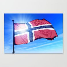 Norway flag waving on the wind Canvas Print