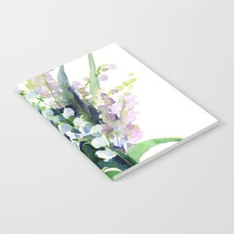 Lilies of the Valley, spring floral design flowers sring design wood flowers Notebook