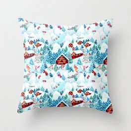 Alpine Chalets with reindeer, owls and snow (watercolor) Throw Pillow