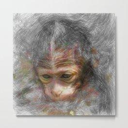 Artistic Animal Monkey Baby Metal Print