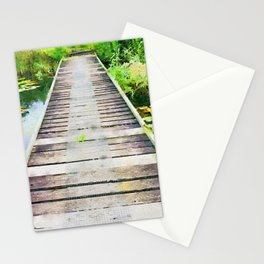 Pier through waterlilies watercolor painting Stationery Cards