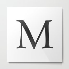 Letter M Initial Monogram Black and White Metal Print
