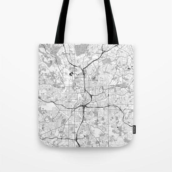 Atlanta City Map Gray Tote Bag