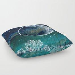 Crescent Moon Mixed Media Painting Floor Pillow