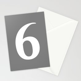 6 (WHITE & GRAY NUMBERS) Stationery Cards