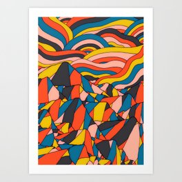 The rocks and hills of colour Art Print