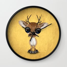 Cute Curious Baby Deer Calf with Big Eyes on Yellow Wall Clock