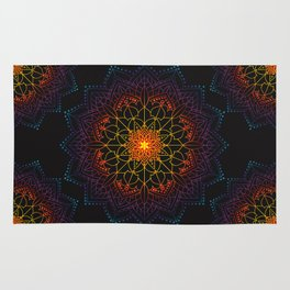 'Glowing Shamballa' Bohemian Mandala Black Blue Purple Orange Yellow Rug