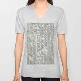 Herringbone Black on Cream Unisex V-Neck