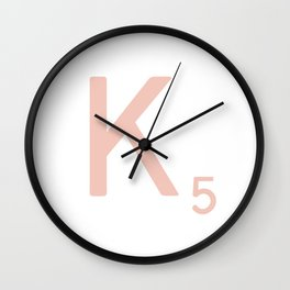 Pink Scrabble Letter K - Scrabble Tile Art and Accessories Wall Clock