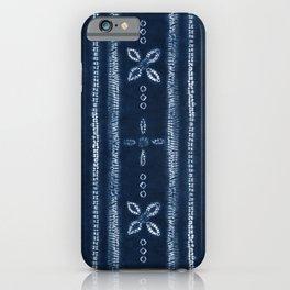Indigo shibori floral stripes iPhone Case