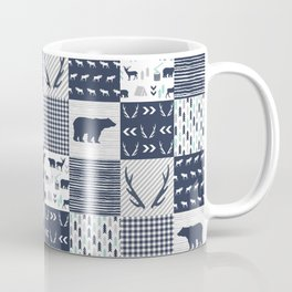 Camper antlers bears pattern minimal nursery basic navy mint grey white camping cabin chalet decor Coffee Mug