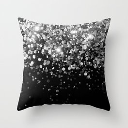 Silver Gray Black Glitter #3 (Faux Glitter - Photography) #shiny #decor #art #society6 Throw Pillow