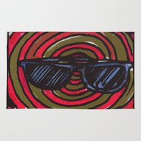 sunglasses Area & Throw Rugs featuring sunglasses by NAME THEGREY