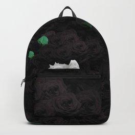 Flowers Black Skull Backpack