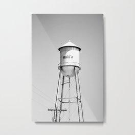 Marfa Water Tower B&W Metal Print