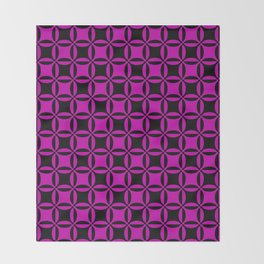 Geometry illusion black and pink Throw Blanket