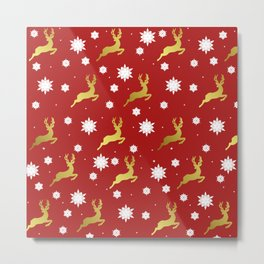 Reindeers in the Snow Metal Print