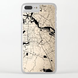 Amsterdam Gold on Black Street Map Clear iPhone Case