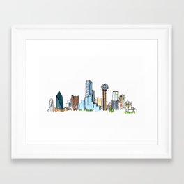 downtown dallas skyline Framed Art Print