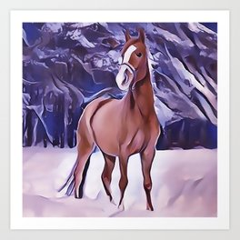 Chestnut Horse Walking in The Snow Art Print