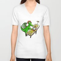 dentist V-neck T-shirts featuring Dragon Dentist by Tory Erpenbeck