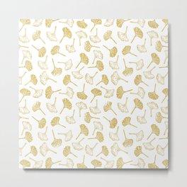 Ginkgo Biloba linocut pattern GLITTER GOLD Metal Print