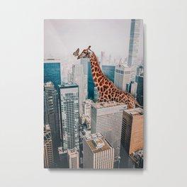 Giraffe in NYC Metal Print