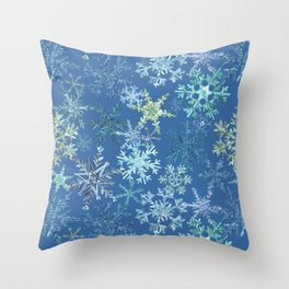 icy snowflakes on blue Throw Pillow