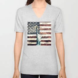 Vintage Patriotic American Liberty Unisex V-Neck