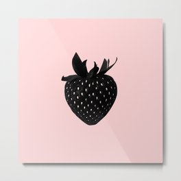 Black Strawberry Metal Print