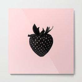 Black Strawberry Metal Print