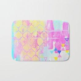 Abstract Mix - Lemon Yellow, Magenta & Turquoise Bath Mat