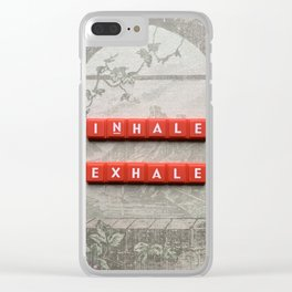 Inhale and Exhale Scrabble Tiles Clear iPhone Case