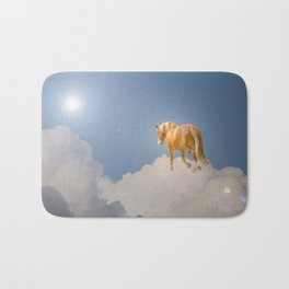 Walking on clouds over the blue sky Bath Mat