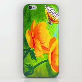 Butterfly with flowers iPhone Skin
