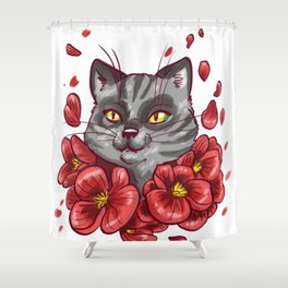 Flowers cat Shower Curtain