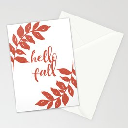 Hello Fall- Orange Wreath Stationery Cards