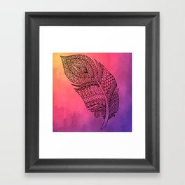 Boho Feather on Watercolors Framed Art Print