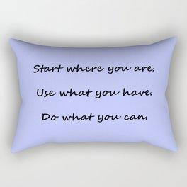 Start where you are - Arthur Ashe - periwinkle script Rectangular Pillow