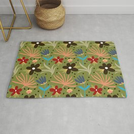 Colorful floral Cut Out Flowers and Leaves Green Rug