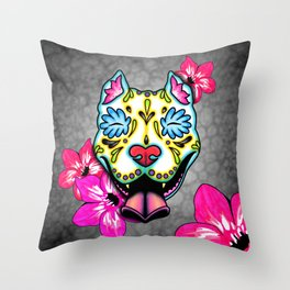 Slobbering Pit Bull - Day of the Dead Sugar Skull Pitbull Throw Pillow