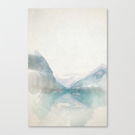 Lake Louise Mountain Watercolor Canvas Print