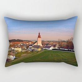 Village and church in warm sundown light II | landscape photography Rectangular Pillow