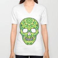 sugar skull V-neck T-shirts featuring Sugar skull by Julia Badeeva