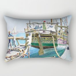 Arrival of the Boat, Tunisia, North Africa Portrait by Raoul du Gardier Rectangular Pillow