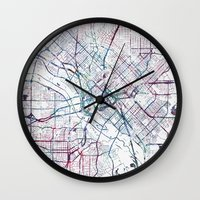 dallas Wall Clocks featuring Dallas map by MapMapMaps.Watercolors