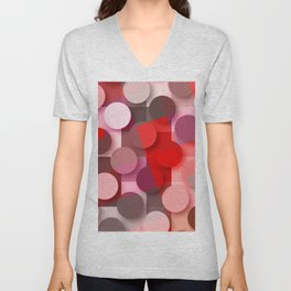 dots & squares red Unisex V-Neck