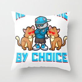 Funny Anti Valentines No Valentine By Choice Cute Cat Throw Pillow