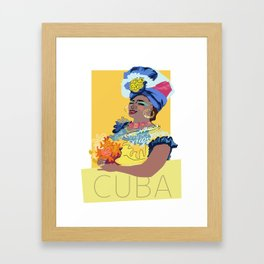 Cuban Lady With Flowers Framed Art Print